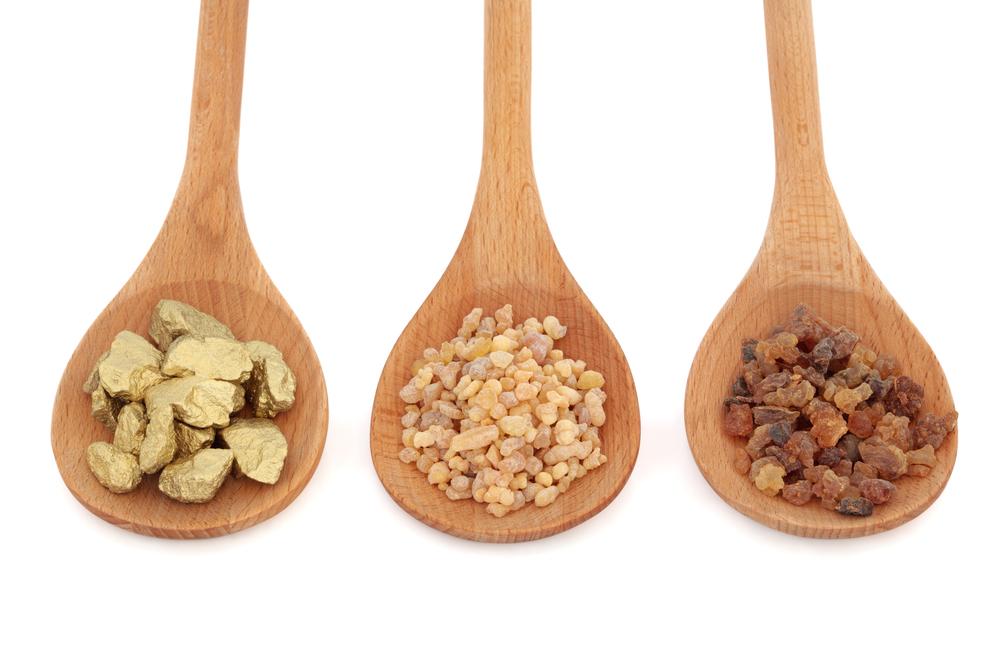 A cosmetic formulation with Gold Frankincense and Myrrh